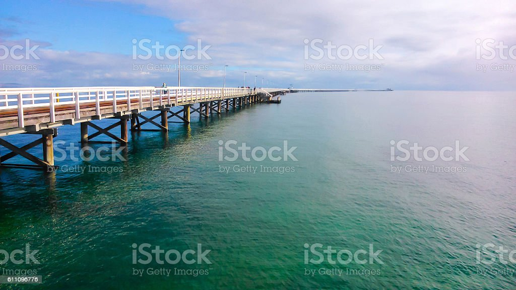 Busselton jetty and dramatic skies stock photo