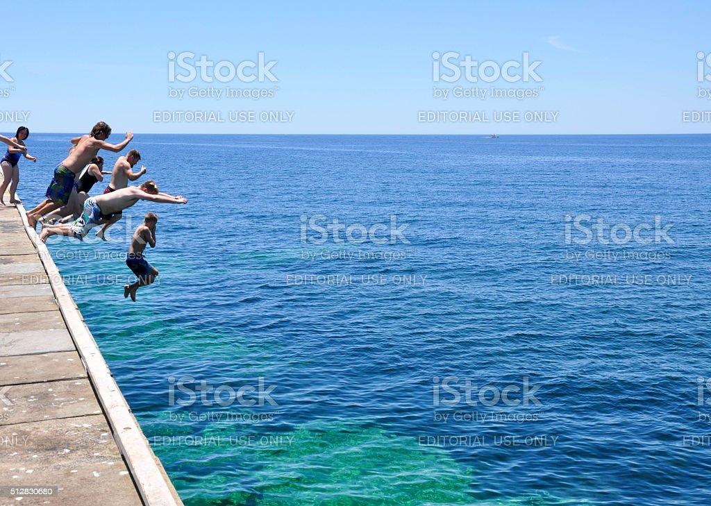 Busselton Jetty: Leap of Faith stock photo