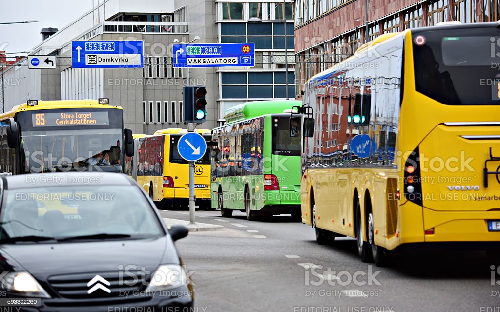 Busses and cars in queue, Uppsala stock photo