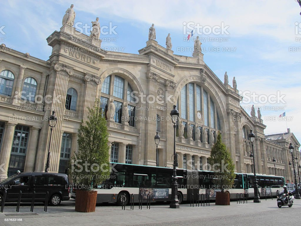 Busses at the Gare du Nord stock photo