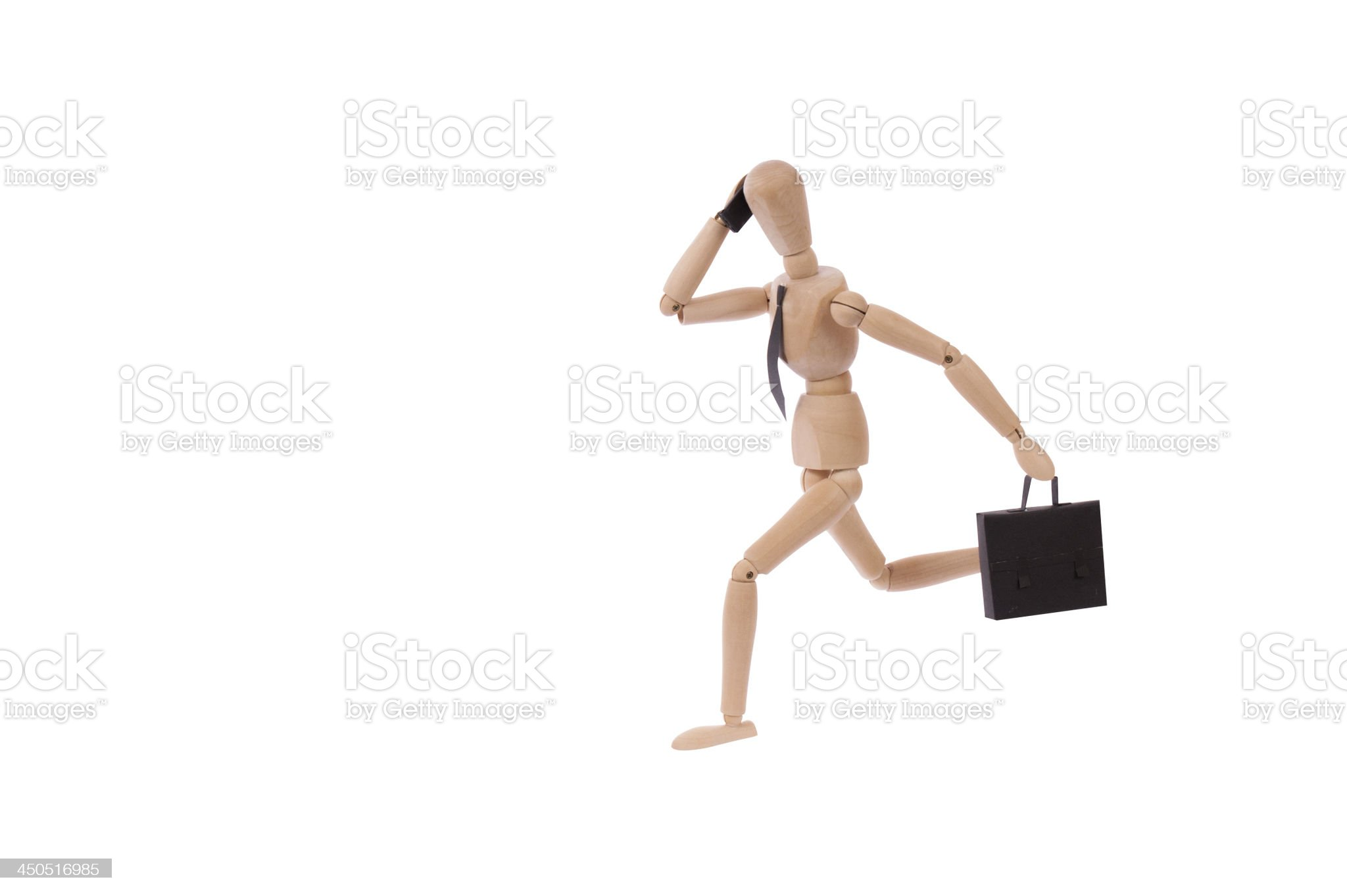 bussiness man running talking on his cell phone with clippingpath royalty-free stock photo