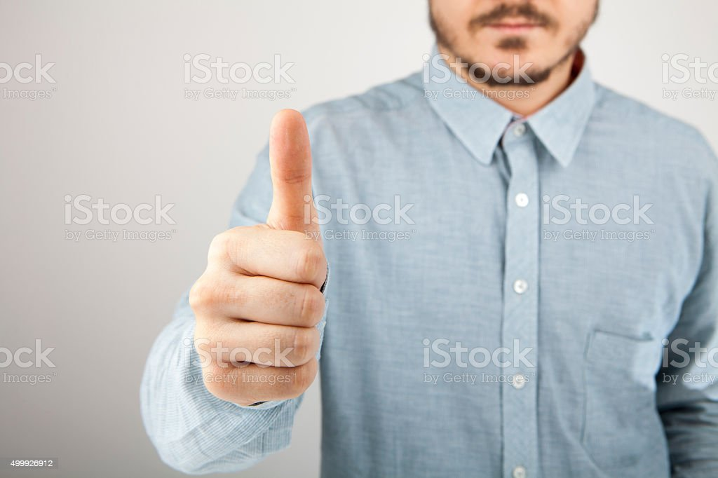 Bussiness man thumb up stock photo