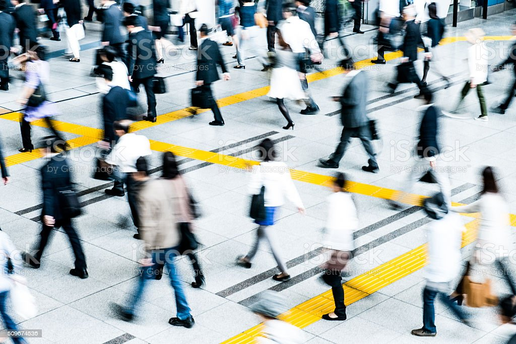 Bussiness people commuting to work in Tokyo stock photo