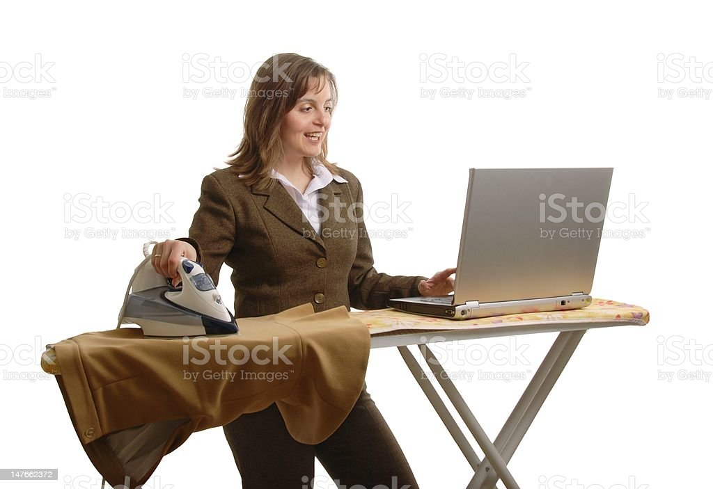 Bussiness woman with laptop and iron royalty-free stock photo