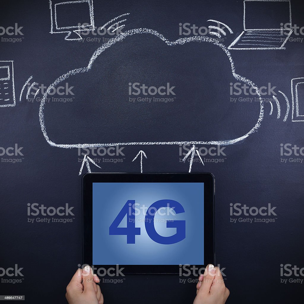 bussinesswoman holding digital tablet and 4G communication sign on blackboard royalty-free stock photo
