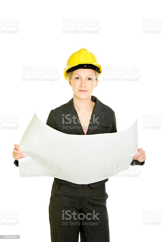 Bussinesswoman in a hardhat royalty-free stock photo