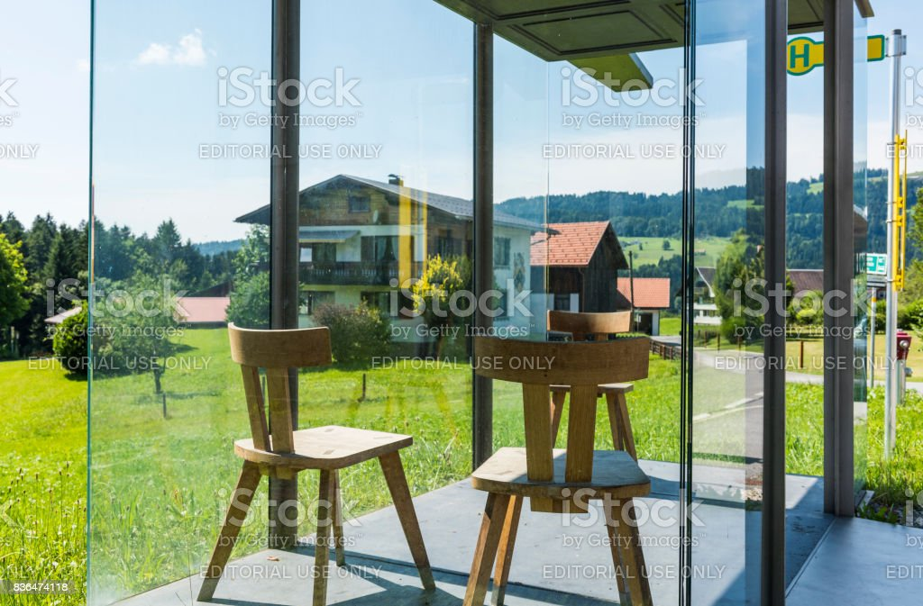 Busstop Bregenzerwald Smiljan Radic stock photo