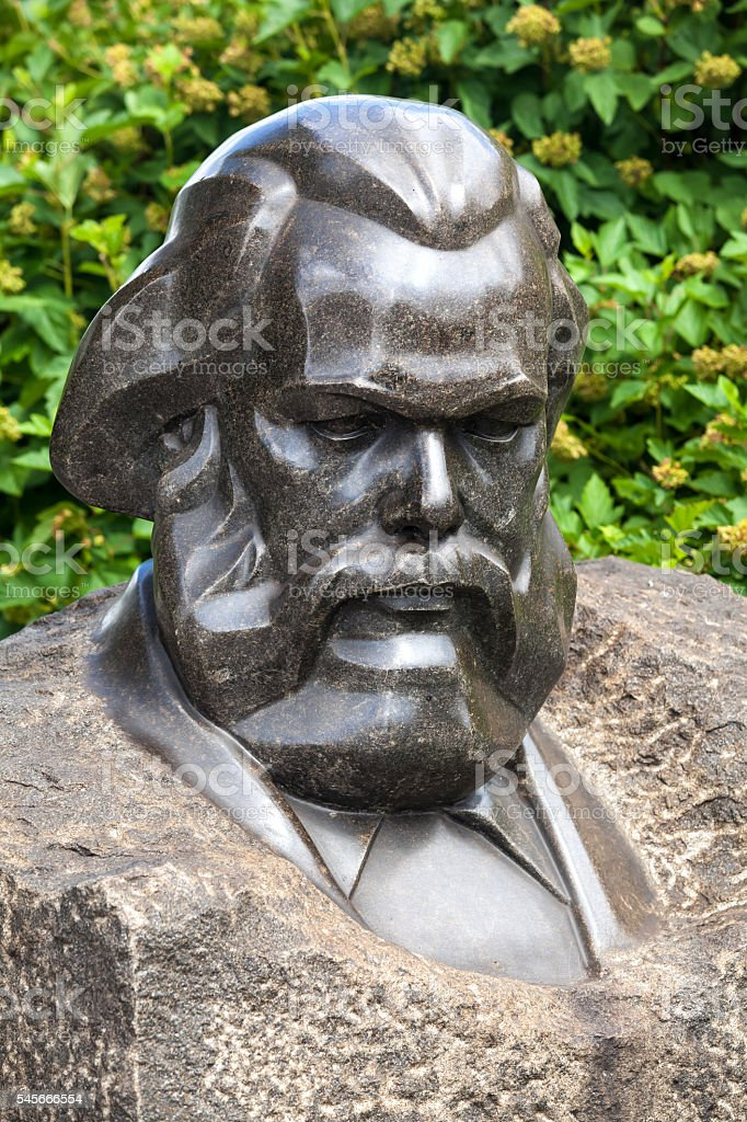 Bust monument of Karl Marx stock photo