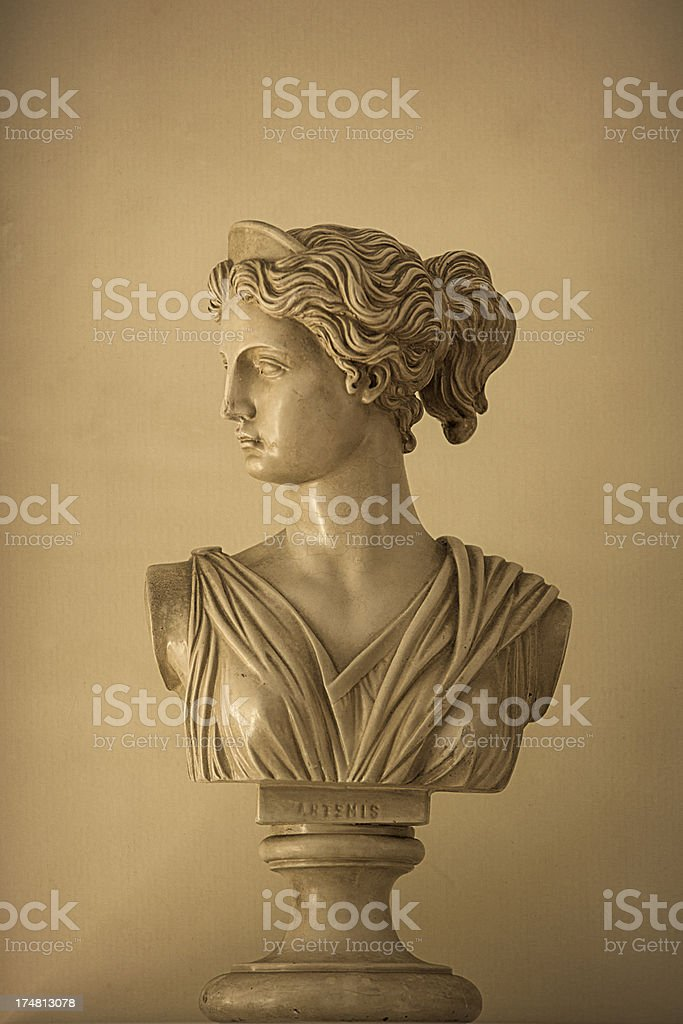 Bust of Artemis stock photo