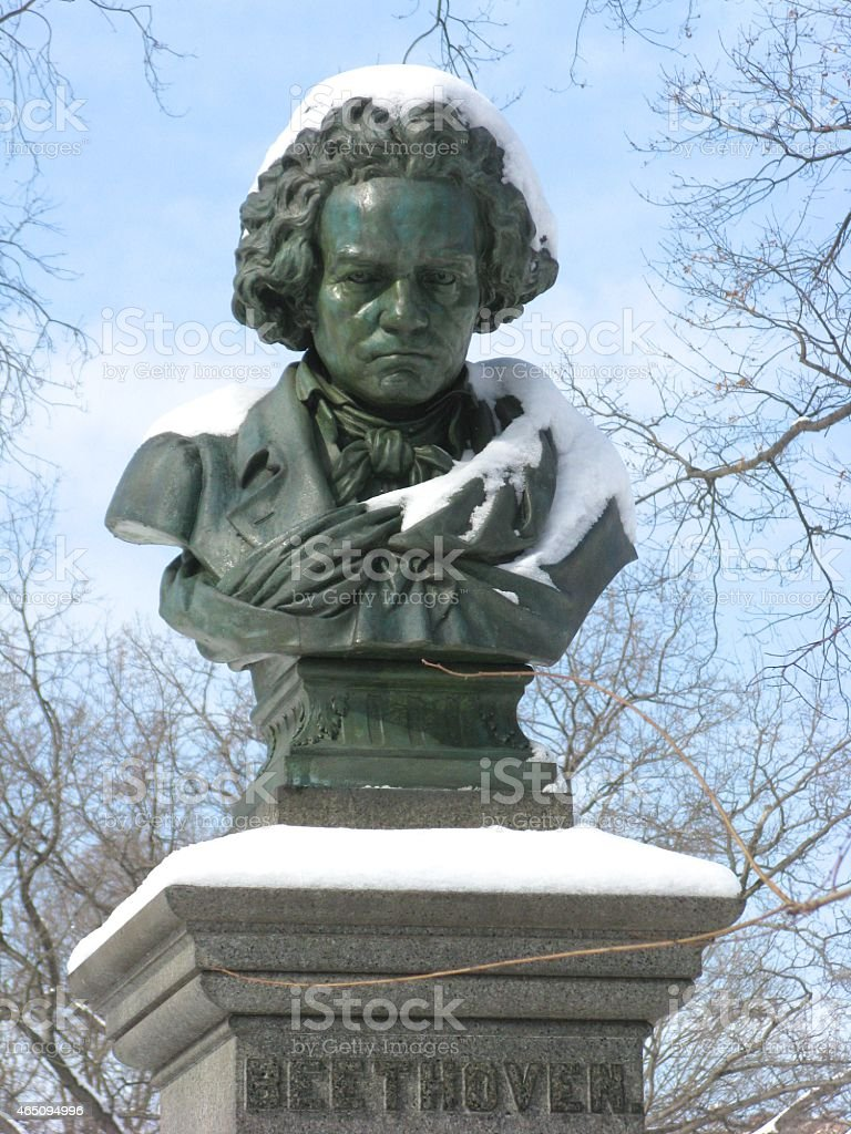 Bust of Beethoven, Central  Park, New York City stock photo