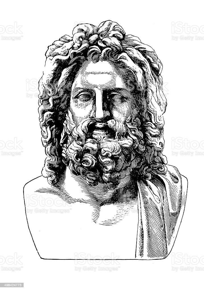 Bust of Jupiter (antique engraving) stock photo