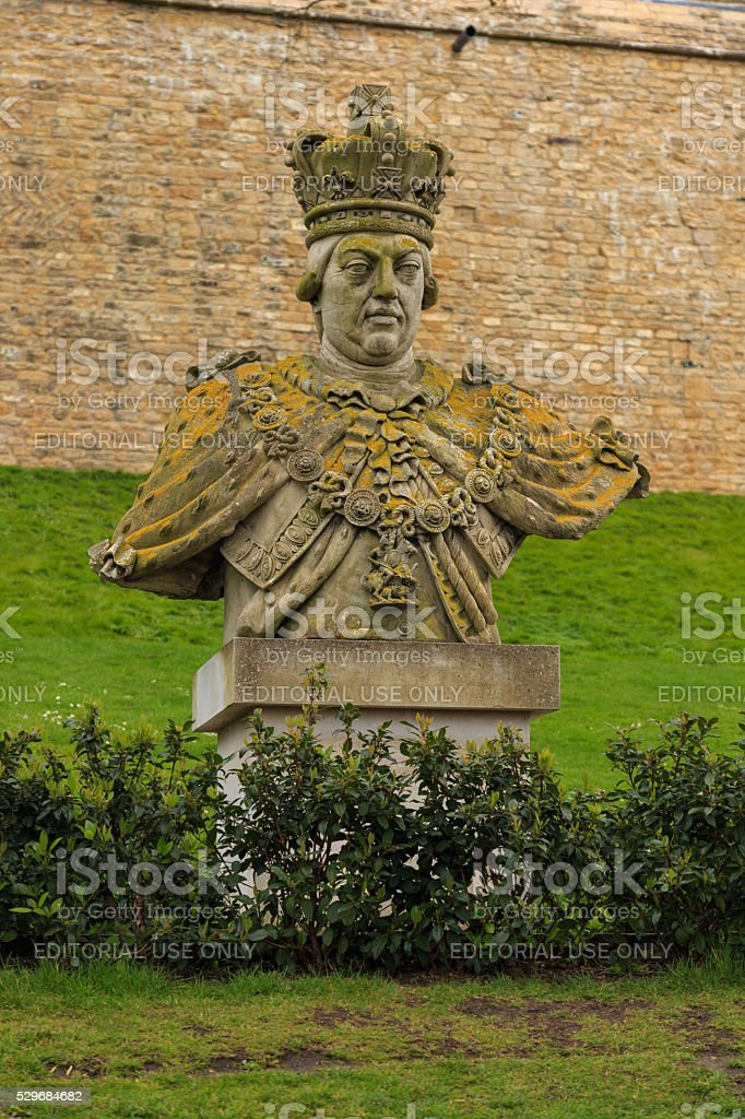 Bust of King George III, Lincoln Castle, England. stock photo