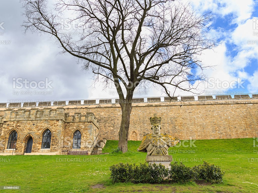 Bust of King George III within grounds Lincoln Castle, England. stock photo