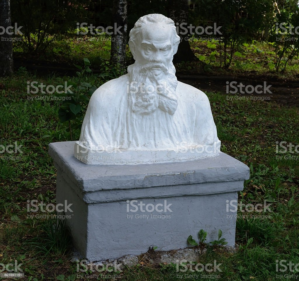 Bust of Leo Tolstoy in park stock photo