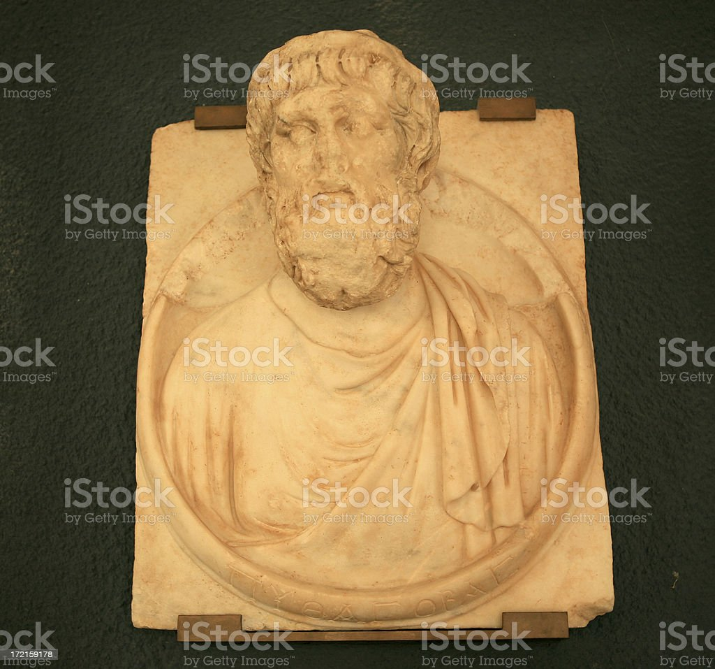 Bust of Pythagoras discovered at Aphrodisias royalty-free stock photo