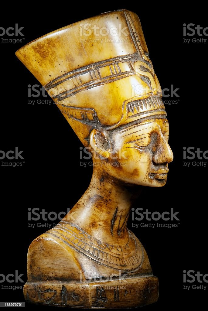 bust of Queen Nefertiti on black background stock photo