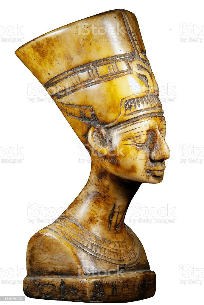 bust of Queen Nefertiti on white background royalty-free stock photo