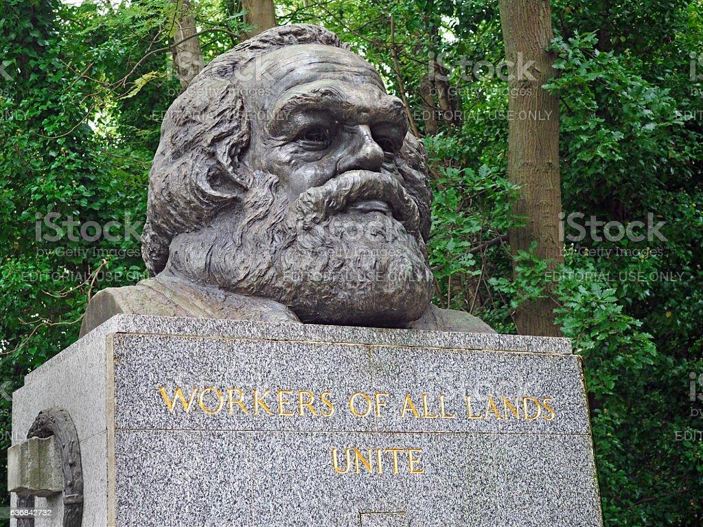 Bust on gravestone of Karl Marx stock photo