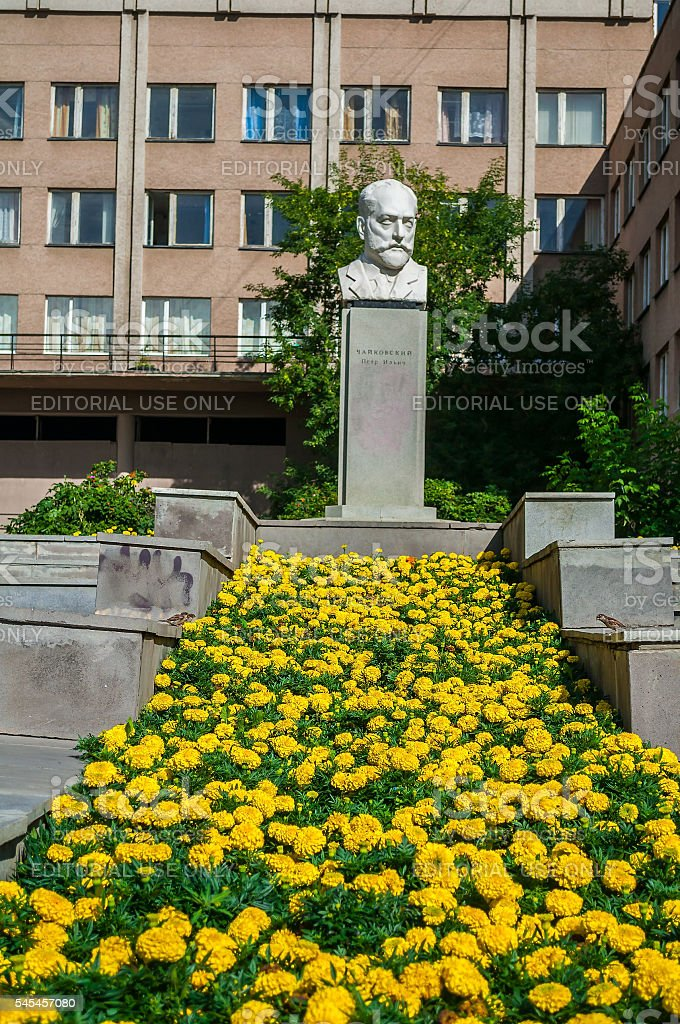 Bust sculpture monument to world famous Russian composer Peter Tchaikovsky, stock photo