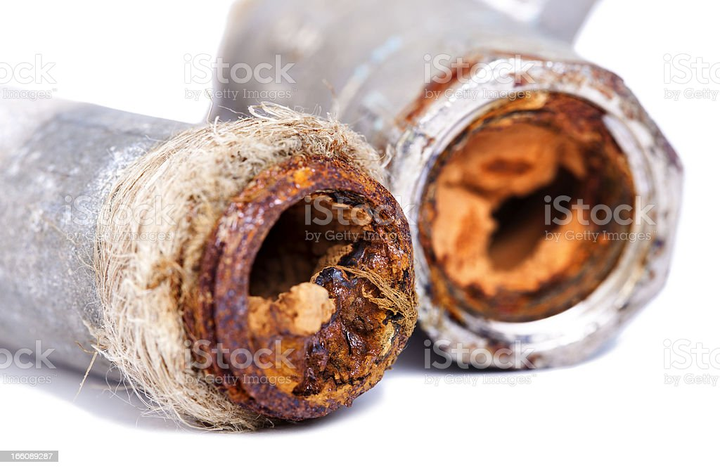 Busted Rusty Pipes stock photo