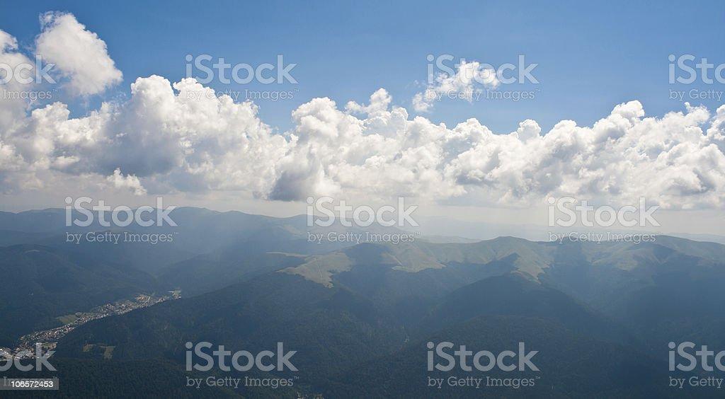Busteni city viewed from Bucegi Mountains stock photo