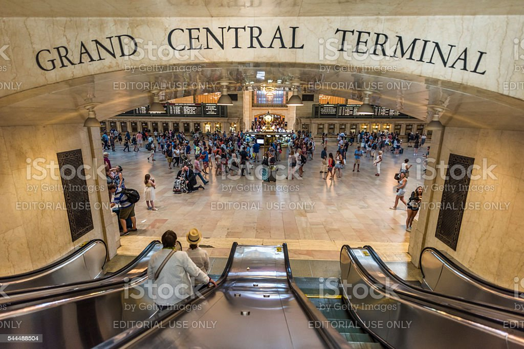 Bustling grand central terminal in New York City stock photo