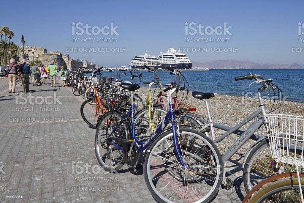 Bustling Kos town harbor area. stock photo