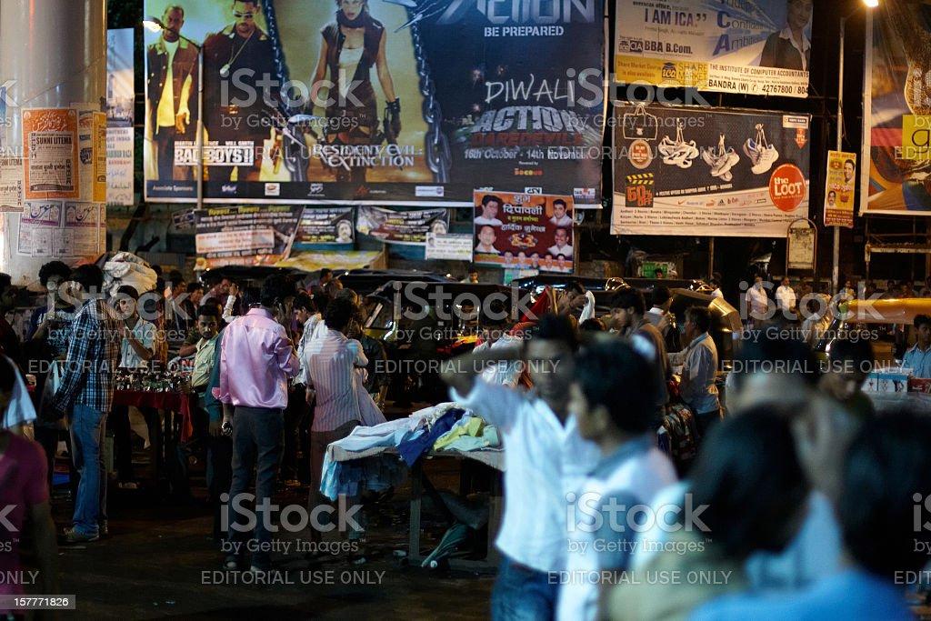 Bustling night time market at Bandra West, Mumbai, India stock photo