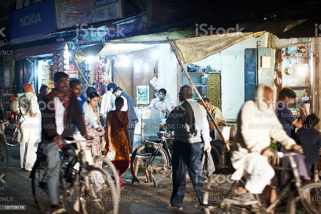 Bustling night time market at Varanasi, India stock photo