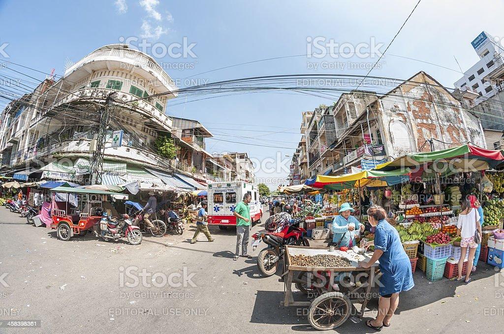 Bustling Street Scene In Cambodia royalty-free stock photo