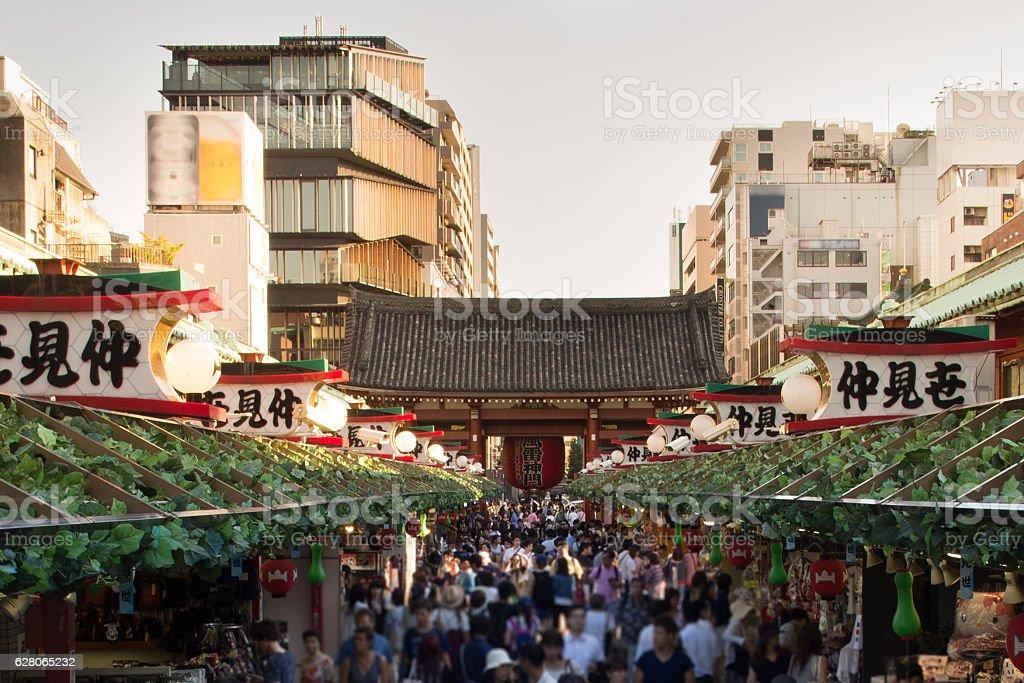 Bustling Tokyo Shopping Street stock photo