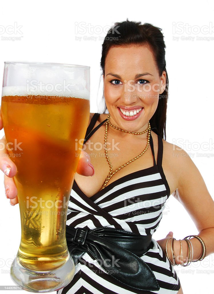 busty brunette with pint of beer royalty-free stock photo