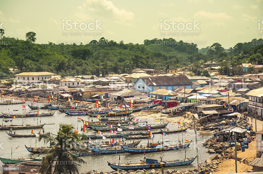 Busua, fisherman village in Ghana, Africa stock photo