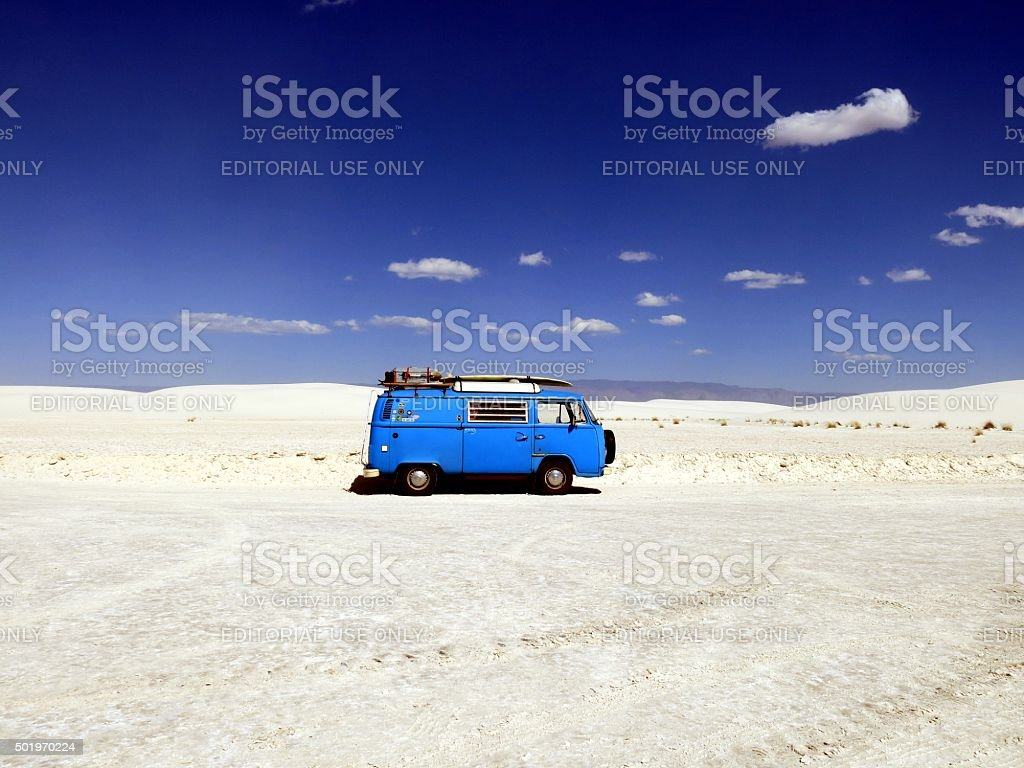 VW Bus/Van in White Sands National Monument, New Mexico stock photo