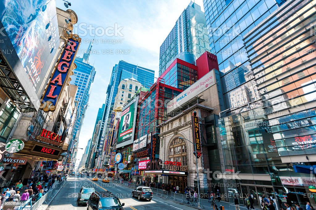 Busy 42nd Street with Theaters, Cinemas and Stores, New York stock photo