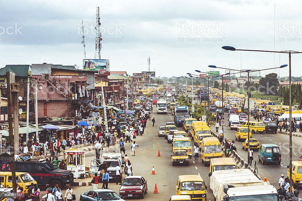 Busy African city. stock photo