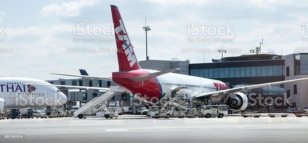 Busy airport Frankfurt, Germany stock photo