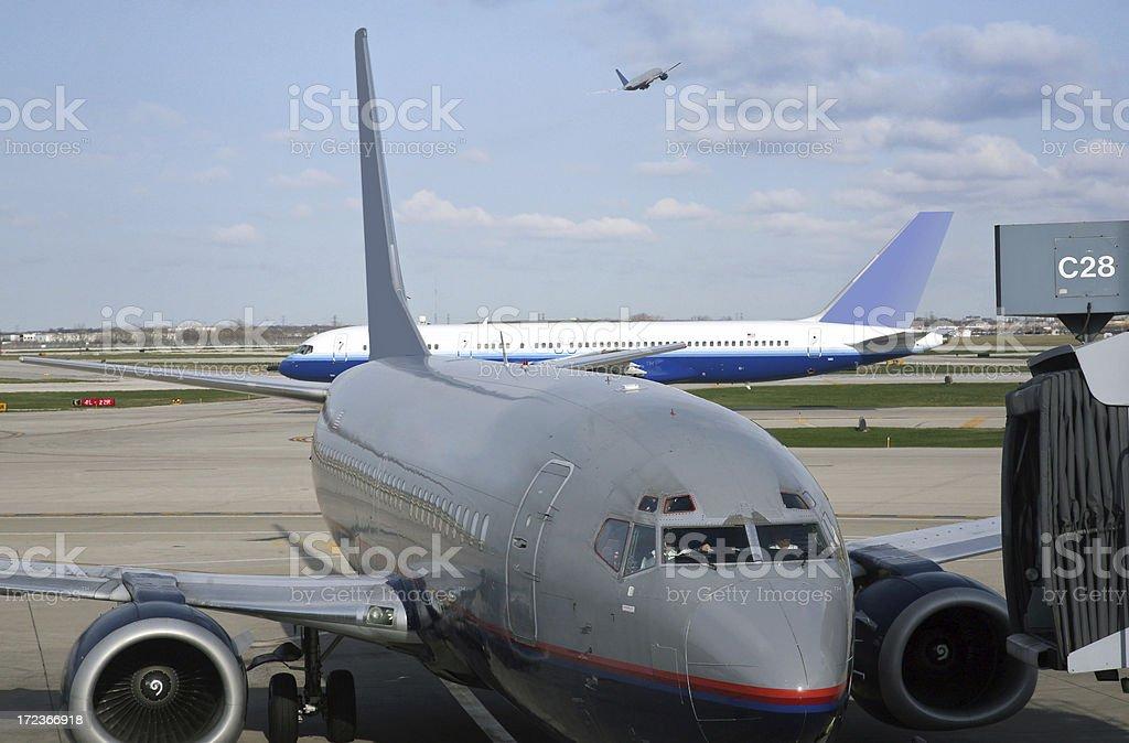 Busy Airport Traffic Scene stock photo