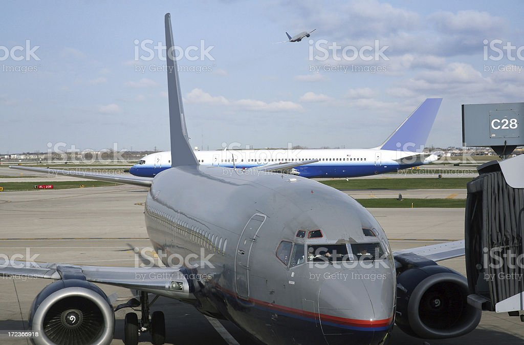 Busy Airport Traffic Scene stock photo