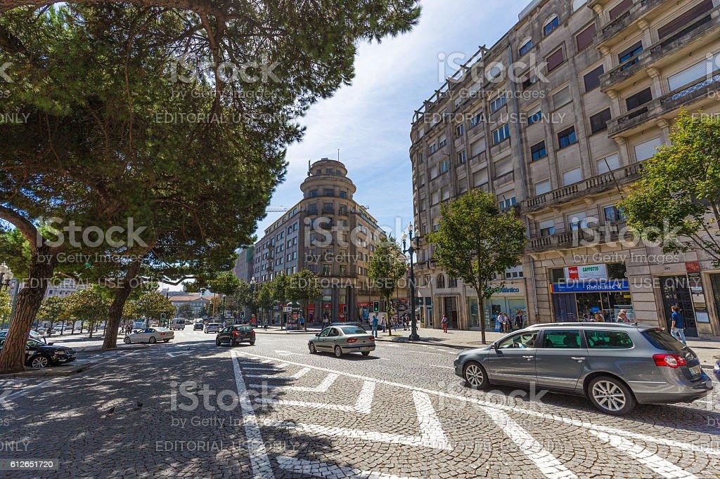 Busy Aliados Avenue and rushing traffic in Porto, Portugal stock photo