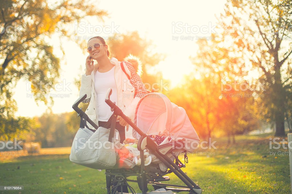 Busy babysitter stock photo