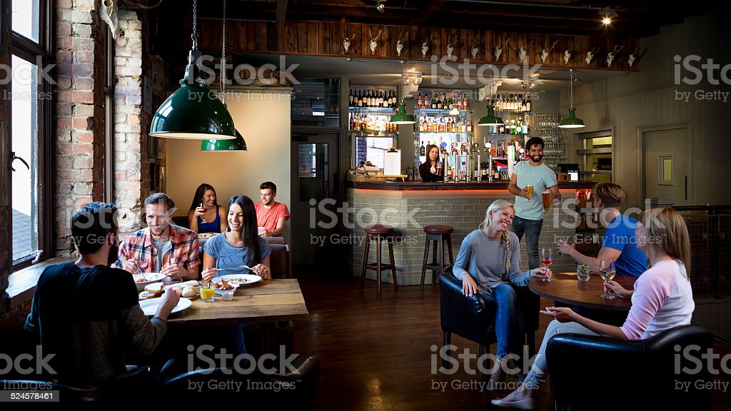 Busy Bar Scene stock photo