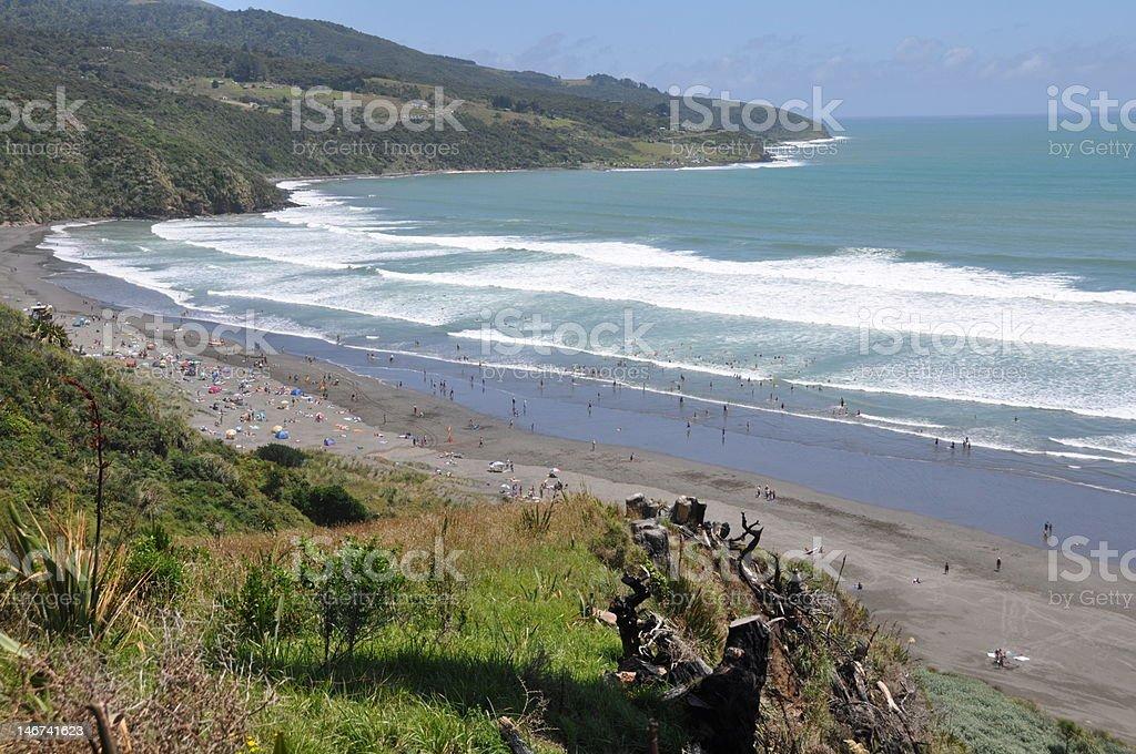 Busy beach stock photo