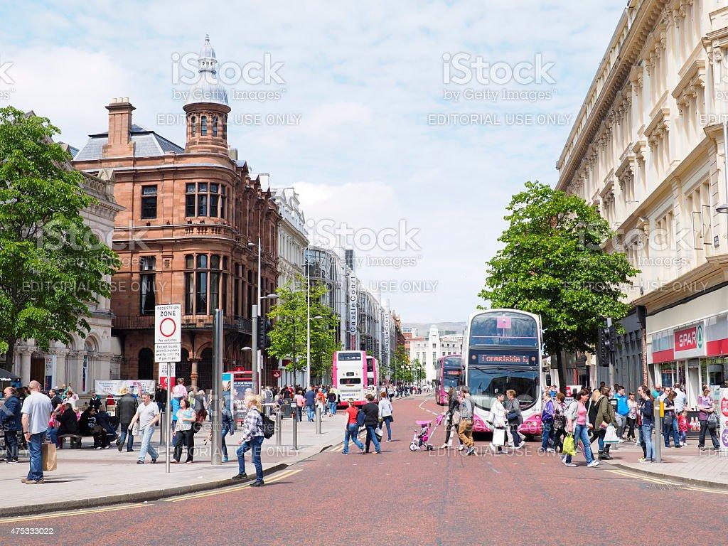 busy belfast street stock photo