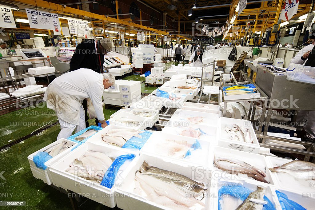 Busy Billingsgate Fish Market stock photo