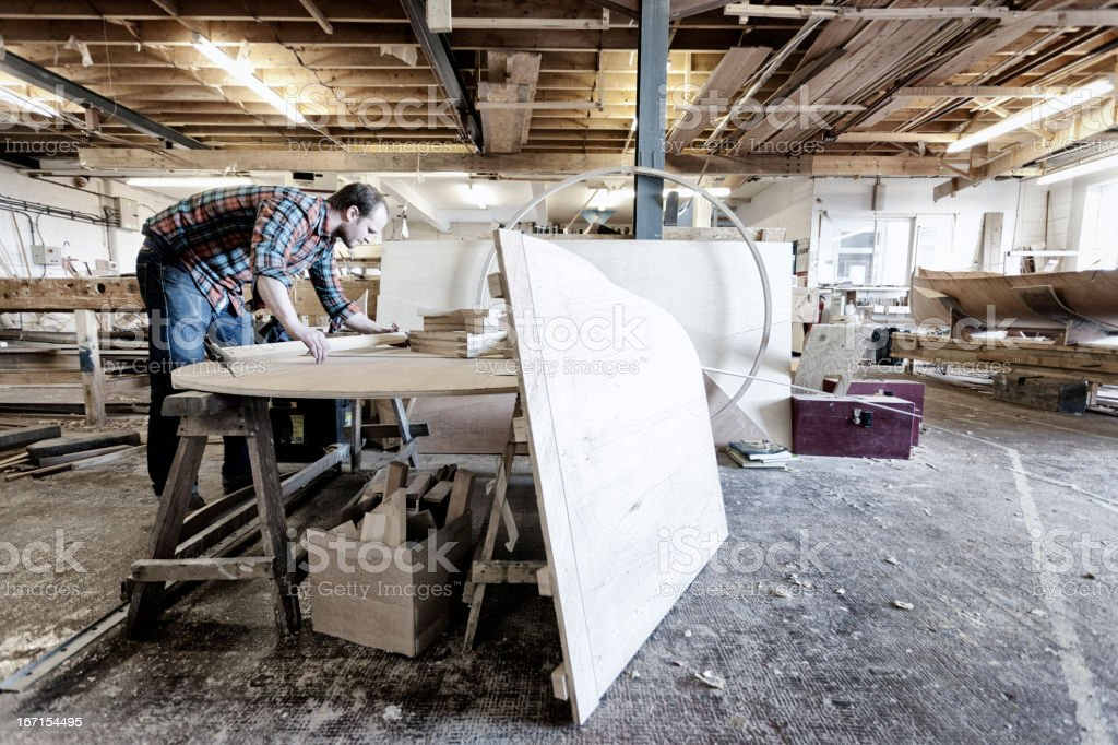 Busy boat builder stock photo