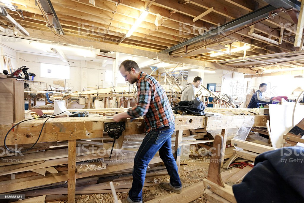 Busy boat building academy stock photo
