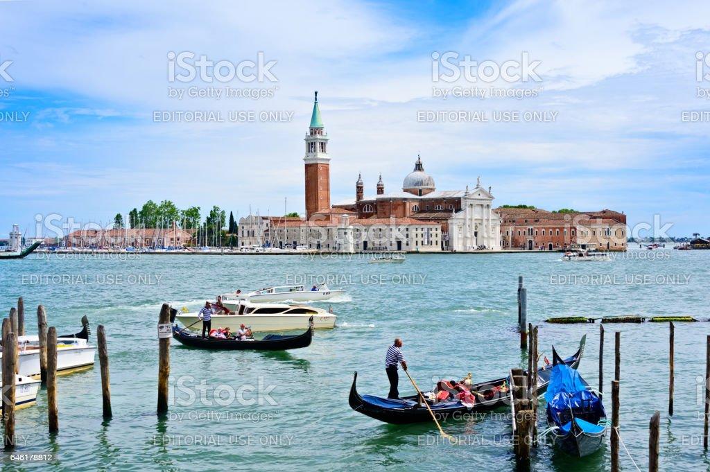 Busy Boat Harbor in Venice stock photo