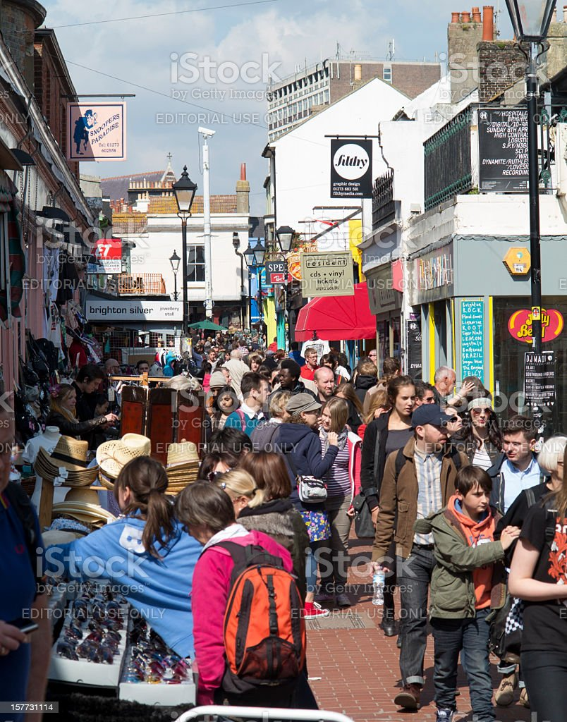 Busy boutique shopping in Brighton North Laine stock photo
