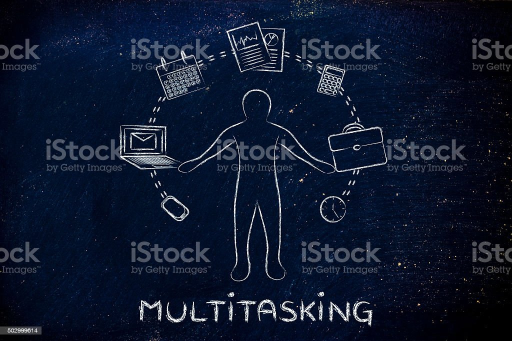 busy business man juggling with office objects and text Multitas stock photo